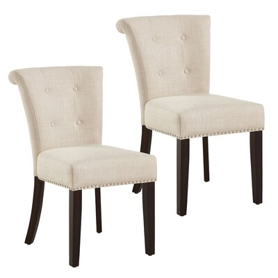 Bentleyville Button Tufted Upholstered Dining Chair Upholstery Color: Beige