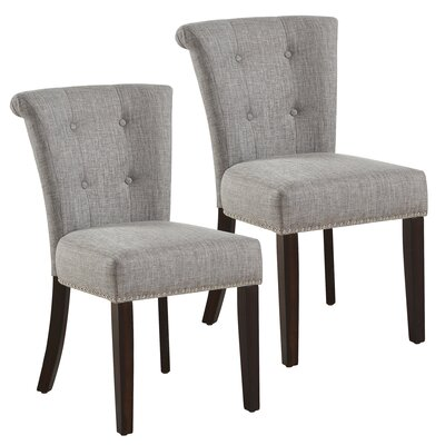 Bentleyville Button Tufted Upholstered Dining Chair Upholstery Color: Light Gray