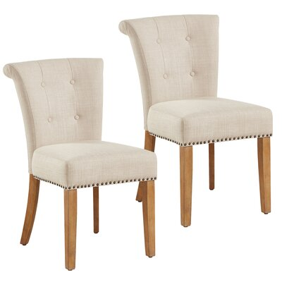 Bentleyville Harbor Button Tufted Upholstered Dining Chair Upholstery Color: Beige