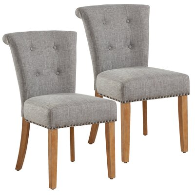 Bentleyville Harbor Button Tufted Upholstered Dining Chair Upholstery Color: Light Gray