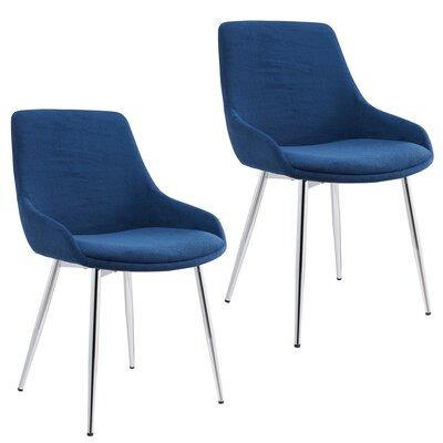 Cortes Velvet Upholstered Dining Chair Upholstery Color: Blue