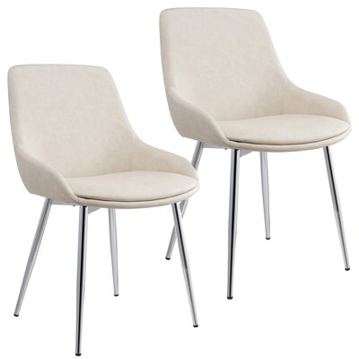 Cortes Velvet Upholstered Dining Chair Upholstery Color: Ivory