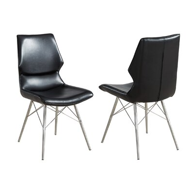 Judd Faux Leather/Metal Upholstered Dining Chair Upholstery Color: Black