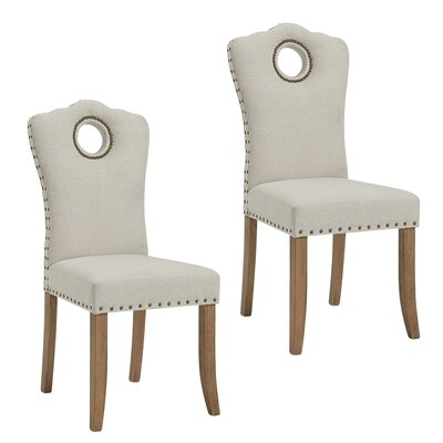 Bentonville Fabric Upholstered Dining Chair Upholstery Color: Gray/Beige