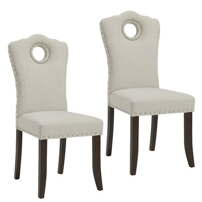 Bentonville Upholstered Dining Chair Upholstery Color: Walnut/Beige