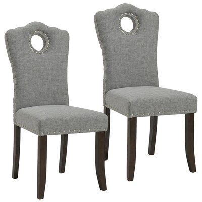 Bentonville Upholstered Dining Chair Upholstery Color: Walnut/Light Gray
