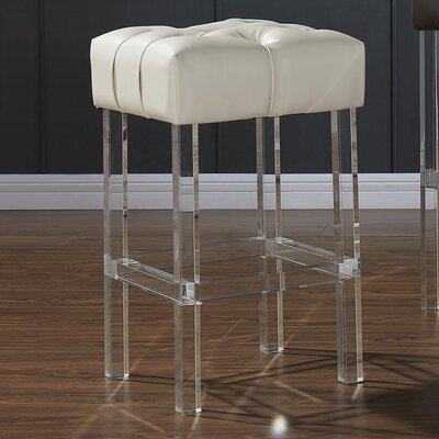 Janice 26 Bar Stool Upholstery: Ivory