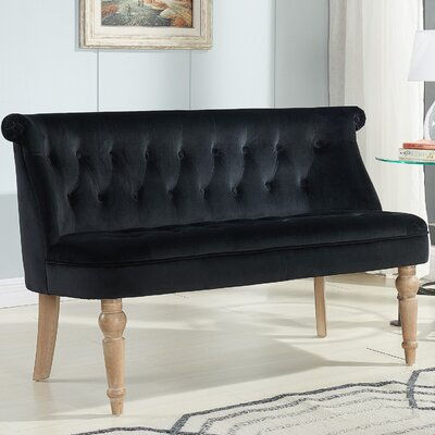 Hartsville Fabric Button Tufted Settee Upholstery: Black