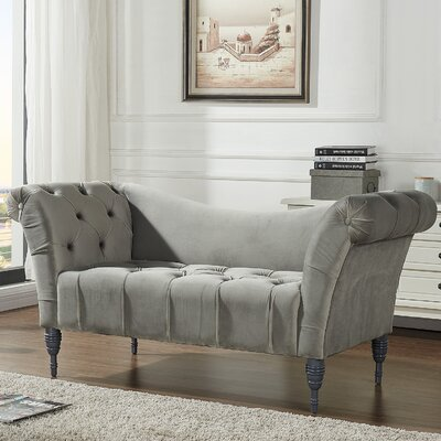 Hinckley Velvet Button Tufted Settee Upholstery: Gray