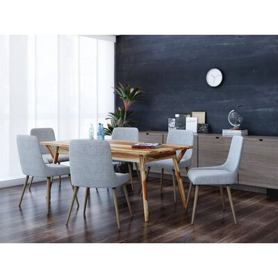 Michie 7 Piece Dining Set Upholstery Color: Light Gray