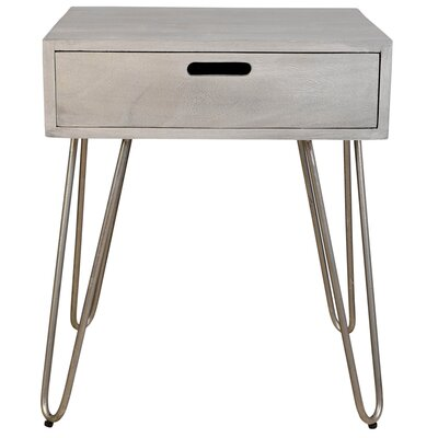 End Table Table Base Color: Antique Nickel, Table Top Color: Grey Sandblasted