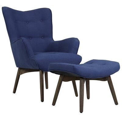 Ansley Lounge Chair and Ottoman Upholstery: Dark Blue