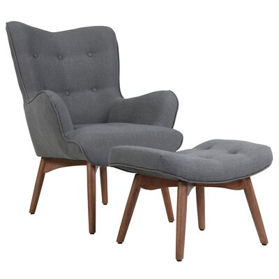 Ansley Lounge Chair and Ottoman Upholstery: Dark Gray