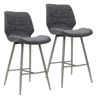 Akron 26 Bar Stool Upholstery: Gray