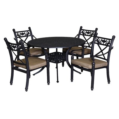 Baldwin 5 Piece Dining Set with Cushions Table Size: 42