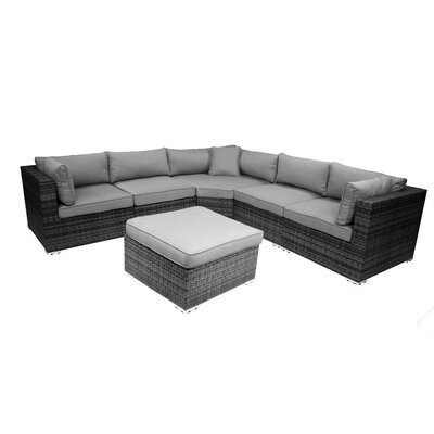 India 6 Piece Sectional Group with Cushion Fabric: Grey