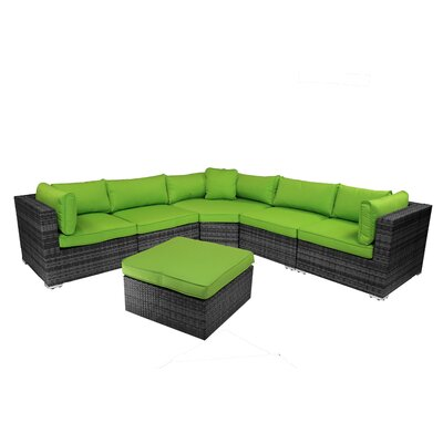 India 6 Piece Sectional Group with Cushion Fabric: Green