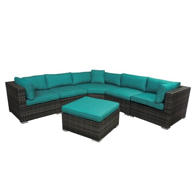 India 6 Piece Sectional Group with Cushion Fabric: Teal