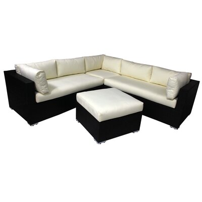 Avondale 4-Piece Wicker/Rattan Deep Seat Sectional Set with Cushion Cushion Color: White