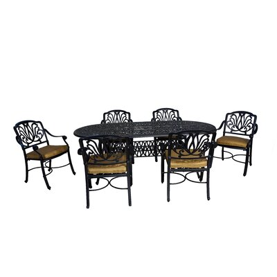 Wasserhund 7 Piece Metal Dining Set with Cushions