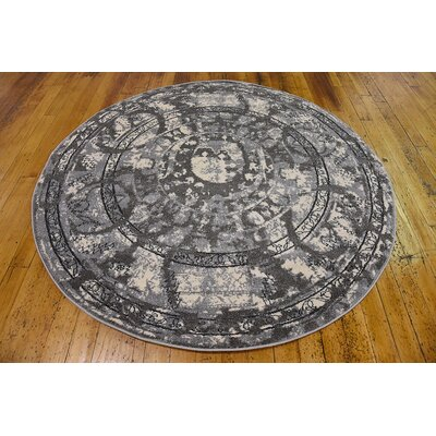 Fasano Gray Area Rug Rug Size: Round 8