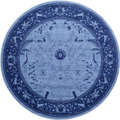 Shailene Blue Area Rug Rug Size: Round 8