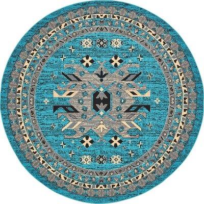 Sina Turquoise Area Rug Rug Size: Round 8