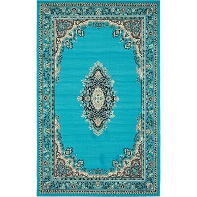 Mashad Turquoise Area Rug Rug Size: 5' x 8'