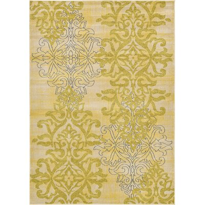 Damask Yellow Area Rug Rug Size: 8 x 10