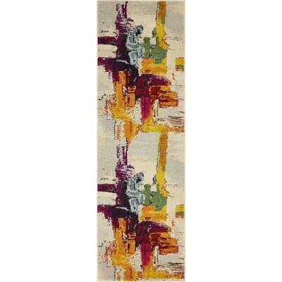 Barcelona Beige/Yellow Area Rug Rug Size: Runner 22 x 67