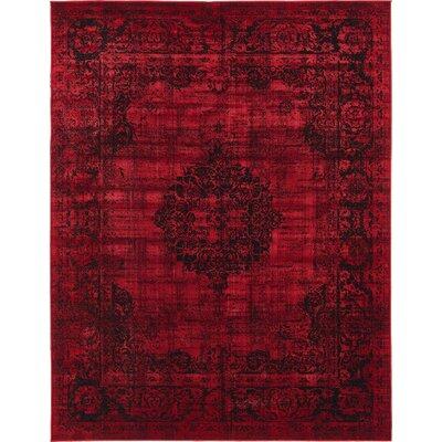 Florence Burgundy/Black Area Rug Rug Size: 7 x 10