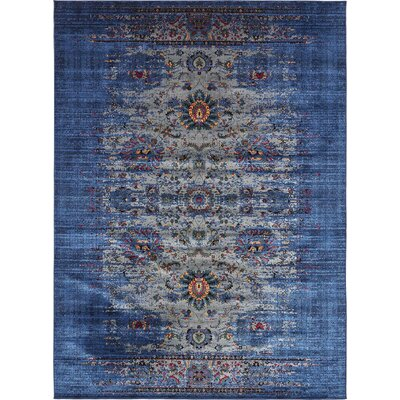 Florence Gray/Navy Blue Area Rug Rug Size: 5 x 8
