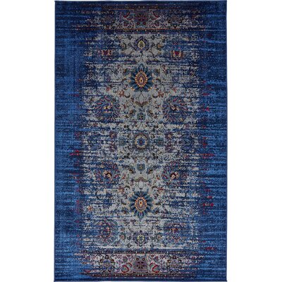 Florence Gray/Navy Blue Area Rug Rug Size: 10 x 13