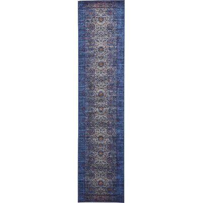 Florence Gray/Navy Blue Area Rug Rug Size: Runner 3 x 13