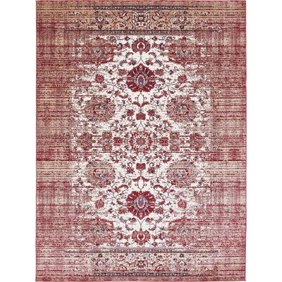 Florence Ivory/Burgundy Area Rug Rug Size: 4 x 6