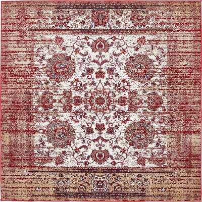Florence Ivory/Burgundy Area Rug Rug Size: Square 6