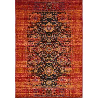 Florence Black/Red Area Rug Rug Size: 9 x 12