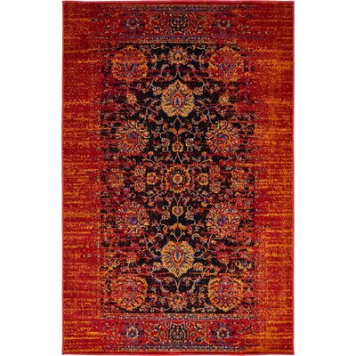 Florence Black/Red Area Rug Rug Size: 5 x 8