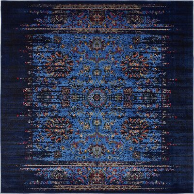Florence Navy Blue/Black Area Rug Rug Size: Square 6