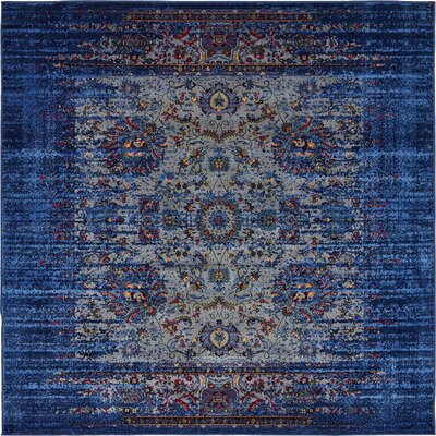 Florence Navy Blue/Gray Area Rug Rug Size: Square 6