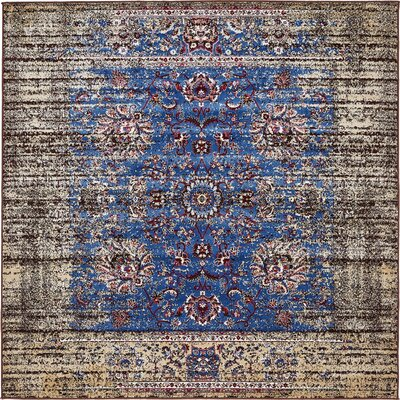 Florence Blue/Ivory Area Rug Rug Size: Square 6'