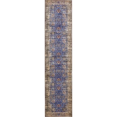 Florence Blue/Ivory Area Rug Rug Size: Runner 3 x 13