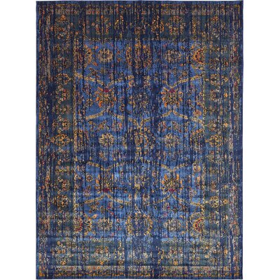 Florence Navy Blue/Gold Area Rug Rug Size: 10 x 13