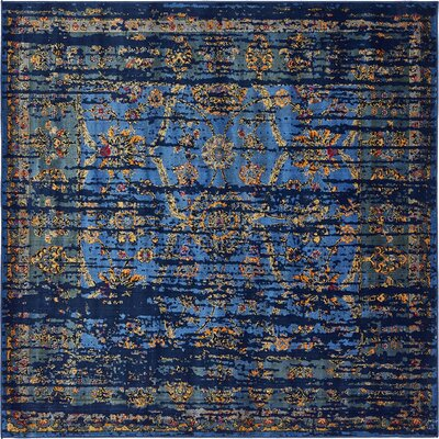 Florence Navy Blue/Gold Area Rug Rug Size: Square 6