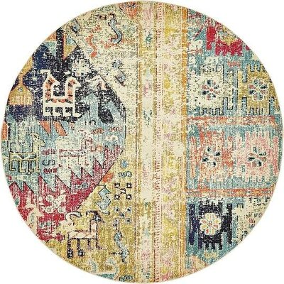 Gloucester Gold Area Rug Rug Size: Round 8