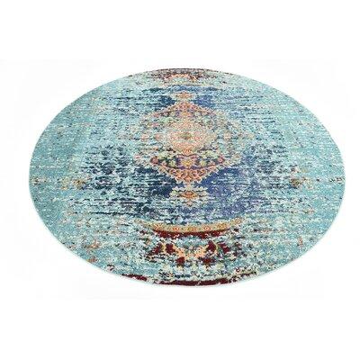 Glenn Blue Area Rug Rug Size: Round 8