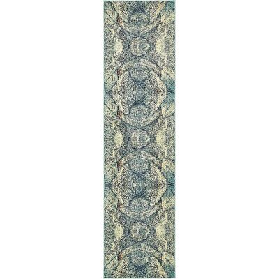 Newton Stain Resistant Blue Area Rug Rug Size: Runner 27 x 10
