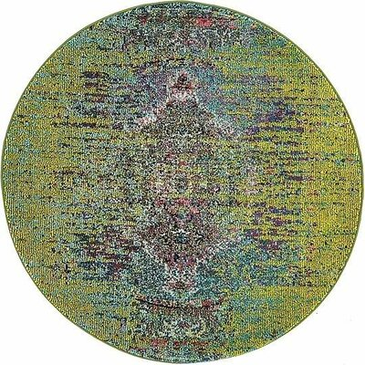 Glenn Machine woven Green Area Rug Rug Size: Round 4