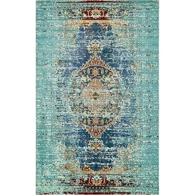 Glenn Blue Area Rug Rug Size: Rectangle 4 x 6