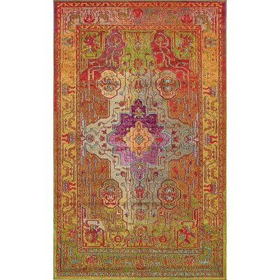 Newton Orange/Green Area Rug Rug Size: 5 x 8